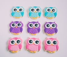 Royal icing decorated owl sugar cookies for little girls birthday.