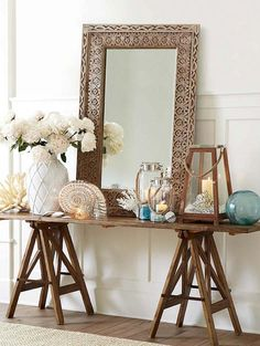 entryway table and accessories; beautiful coastal feel for the showroom