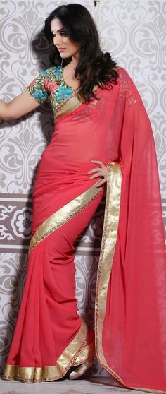 Pink #Designer #Georgette #Saree  Check out this page now :-http://www.ethnicwholesaler.com/sarees-saris/georgette-sarees