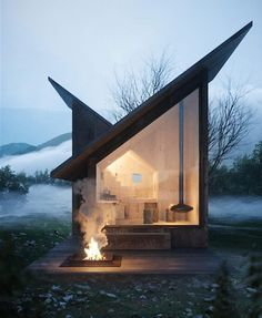 I love how the lines of the roof meet to make a house shape inside. Carpineto Mountain Refuge near Italy, concept design by Architect Massimo Gnocchi Tiny House Cabin, Tiny House Living, Cozy House, Cozy Cabin, Casas Containers, Cabin In The Woods, Cabana, Exterior Design, Roof Design