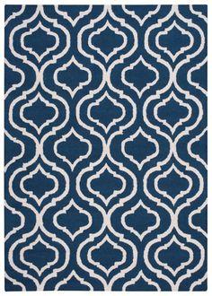 Aidyn Handmade Navy Blue/Cream Area Rug