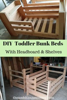 Beautiful DIY Toddler Bunk Beds with Headboard Shelves & Storage Space ~ The Ambitious Mommy Bunk Bed Sets, Toddler Bunk Beds, Diy Toddler Bed, Bunk Beds For Girls Room, Bunk Beds With Stairs, Cool Bunk Beds, Bunk Beds For Toddlers, Diy Beds For Kids, Pallet Toddler Bed