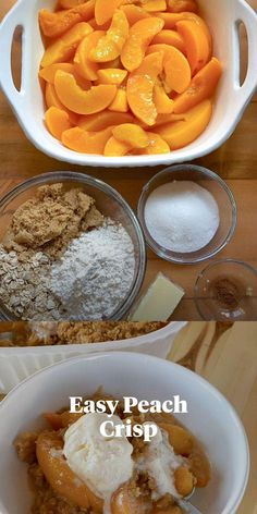 Can Peaches Recipes, Peach Crisp Recipe With Canned Peaches, Easy Desserts, Delicious Desserts, Easy Peach Dessert, Brunch Recipes, Dessert Recipes, Dessert Ideas, Deserts For A Crowd