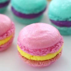 Homemade Macarons Macarons are so much easier to make than you'd expect! Make with a friend and take to the beach for a cute, sweet and colourful treat! Köstliche Desserts, Delicious Desserts, Dessert Recipes, Yummy Food, Macaroon Recipes, Plated Desserts, Easy Macaroons Recipe, Homemade Macarons, Yummy Treats