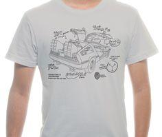 Camiseta Básica na cor Bege - Ilustração Time Machine Blueprint por Tiago Conceicao