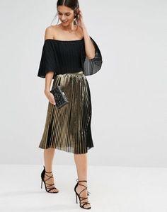 TFNC Foiled Metallic Midi Skirt