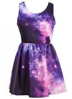 Purple and Pink Galaxy Dress. My friend has a dress like this, and wore it with matching leggings, black flats, and a short black sweater and it was so cute.