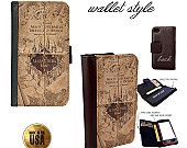 Harry Potter Marauder's Map handbook Smartphone case for iphone and galaxy smartphones - Leather wallet