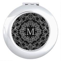 Shop Monogram Black & Silver Filigree Motif Compact Mirror For Makeup created by BlueRose_Design. Blue And Silver, Black Gold, Mirrors For Makeup, Compact Mirror, Silver Filigree, Heart Shapes, Vibrant Colors, Monogram, Luxury