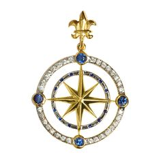 Outter Diamond and Sapphire Compass Rose