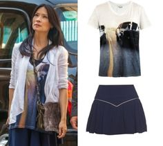 Elementary season 2, episode 1: Joan Watson's (Lucy Liu) IRO Bridger Car Print Tee and Isabel Marant blue skirt #getthelook #elementary #iro