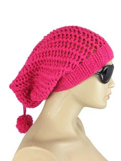 Pink Crochet Hat Hand Knitted Slouchy Wool Beanie Hat by Nakkashe