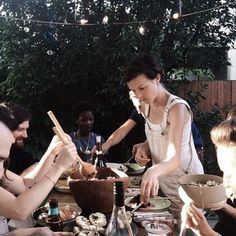 enjoying food with friends and fresh air