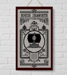 BOGO SALE, Cross stitch pattern, House Seaworth, Game of Thrones, Cross-stitch PDF, Instant Download, Needlework, Embroidery, Digital #148 by LolitaMade on Etsy