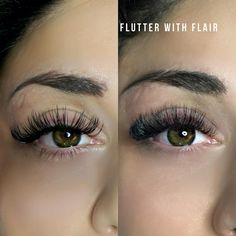 Flutter with Flair (@flutterwithflair) on Instagram: Classic lash extensions vs. Volume lash extensions . Same client - different style