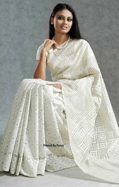 ❀Purva❀ -Chickenkari White Saree - Tangail Sarees