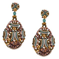 JJ Caprices - Mother of Pearl and Swarovski Drop Earrings by DUBLOS