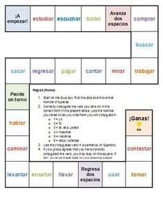 A simple board game for teaching Spanish -AR verb conjugation. The directions indicate that it is for teaching the present tense, but can easily be used for other tenses such as preterite, imperfect, etc. A vocabulary list with English meanings is included to copy for students as needed.