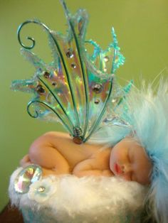 fairy baby blue ICE iridescent ooak art doll wing elf fairies fantasy crystals