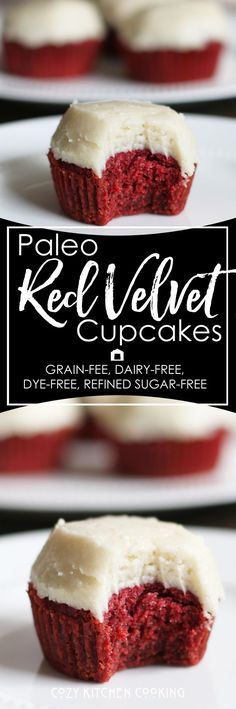 Paleo Red Velvet Cupakes that you won't know are paleo! Grain-free, dairy-free, dye-free, and refined sugar-free. They are also free of treenuts. Allergy friendly and sooo decadent!