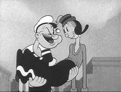 a famous cartoon character Popeye and Olive Oyl...watched it every Saturday morning!
