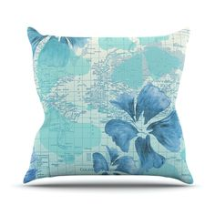 "Catherine Holcombe ""Flower Power Blue"" Aqua Map Throw Pillow"