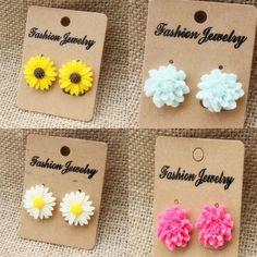 Fashion Women Lady Cute Jewelry White Yellow Daisy Flower Peony Stud Earrings #Unbranded #DaisyPeony