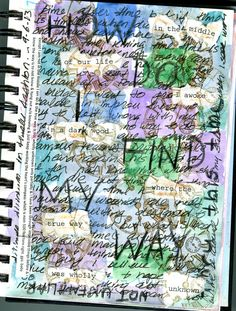 """ 'Visual Journal' page, Sept 2013. Base layer: free association on time in black script, permanent ink. Watercolor patchwork squares over this. Wax marking pencil lettering. Torn scraps of words from Dante. Stamped in sepia w image of clock face (barely visible). Notes to self on side. Touch-ips with beige colored pencil. Gessoed afterwards."" Crescent Dragonwagon's Writing, Cooking, & Workshops"