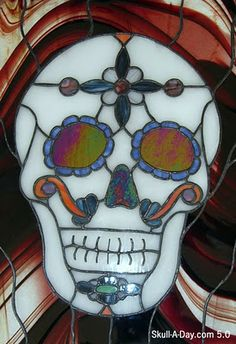 ChaosTheory GlassWorks in San Diego created this stained glass sugar skull.