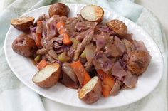 Vegan Corned Beef and Cabbage, Roasted Potatoes, Soda Bread, and links to more vegan recipes for St. Patrick's Day.