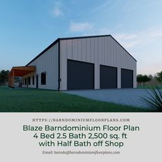 """Blaze Barndominium 3D 4 Bed – 2.5 Bath – 2,500 sq. ft.– """"Blaze"""" with Half Bath off Shop. We sell semi-custom Barndominium floor plans and provide helpful tips to design and build your home whether it is DIY or you are paying a company. #architecture #barndominiums #home #modernbarn #barnhomefloorplans #beautifulbarn #homefloorplan #barnhomedesign #housedesign #barndominiumfloorplans #floorplan #dreambarn #barnhouse #barndominiumliving #barndominiumdesign #barn #barns #garage #shop"""
