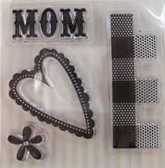 "We R Memory Keepers ""Mom"" Family Keepsake Clear Stamps, 4 Clear Acrylic Scrapbooking Stamps 3""x3"" by SimplyCraftSupplies on Etsy"