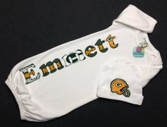 Personalized Baby Boy Gown and Hat Set by PeaceLoveandPaisley