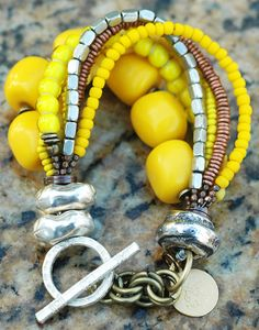 Yellow, Silver and Copper Bracelet $130 Click to buy