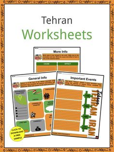 This is a fantastic bundle which includes everything you need to know about the Tehran across 19 in-depth pages. These are ready-to-use Tehran worksheets that are perfect for teaching students about the Tehran, Iran's capital, which is found in the northern half of the country and is one of the largest and most populated cities in the world. With its ornate rooms and marble throne, the main Golestan Palace complex was the seat of power of the Qajar dynasty. Qajar Dynasty, Geography Worksheets, Ancient Persian, Tehran Iran, History For Kids, Oil Industry, Crude Oil, Guinness World