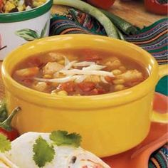 Salsa Chicken Soup Recipe - add a can of black or pinto beans for additional flavor. Serve with tortilla chips. (84 calories per serving!)