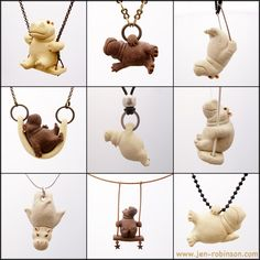 Tiny Stoneware Hippo Necklaces by Hippopottermiss.deviantart.com