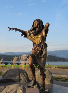 A statue of Sacagewa at the Columbia river. Sacagawea, also Sakakawea or Sacajawea, was a Lemhi Shoshone woman, who accompanied the Lewis and Clark Expedition, acting as an interpreter and guide, in their exploration of the Western United States. Wikipedia ~  Born: 1788, Salmon, ID ~ Died: December 20, 1812, Fort Lisa ~ Spouse: Toussaint Charbonneau, a French-Canadian explorer and trader, and a member of the Lewis and Clark Expedition. Children: Jean Baptiste Charbonneau, Lizette Charbonneau