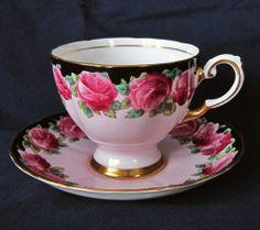 Tuscan Rose Red Floral on Pale Pink Black & Gold Trim Footed China Teacup Set   eBay