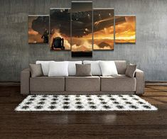 5 Piece Star Wars Millennium Falcon Oil Painting on Canvas