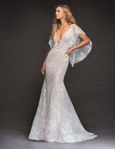 Style 6813 Frida Hayley Paige bridal gown - Ivory lace fit to flare bridal gown, deep V scalloped neckline with nude net insert, fitted skirt with back godet, cashmere lining and layer of sparkle net, detachable cascading flutter sleeve. V Neck Wedding Dress, Wedding Gowns, Hayley Paige Bridal, Mod Wedding, Trendy Wedding, Wedding Ideas, Bridal Boutique, Bridal Dresses, Event Dresses