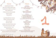 Menü és asztalszám Menu and table number