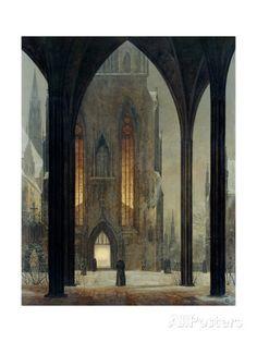 Cathedral in Winter, 1821 Impressão giclée por Ernst Ferdinand Oehme na AllPosters.com.br