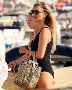 Kate Moss and Lila Moss Kate Moss, Lila Moss, Lisa Marie Fernandez, Black Swimsuit, Looking Stunning, Model Agency, Seersucker, Louis Vuitton Speedy Bag, Women Accessories