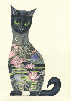 Black Cat Print - Print | Animal Cards and Prints & Screen prints | The DM Collection