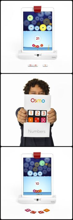 Numbers is the newest addition to Osmo, winner of TIMES Magazine Best Invention of 2014. Kids arrange physical tiles, including dots and digits, to make numbers and complete levels as Osmo's reflective technology lets the user know if they are giving a correct answer. Add by putting more tiles, subtract by removing tiles and multiply by connecting tiles together. Experimenting becomes fast and intuitive as kids learn math in a innovative and stress-free environment.