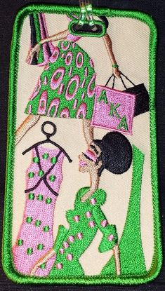 Alpha Kappa Alpha embroidered luggage tag. Twill background. Beautifully crafted. Discounted price. Comes with a clear and sturdy strap and address card. Approx size 2.25 x 4.5. Ships in US only.