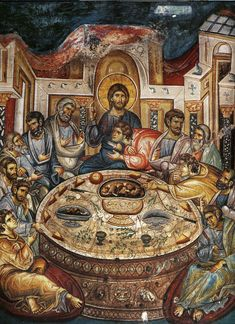 "theraccolta: "" The Mystical Supper, fresco from the Holy Monastery of Vatopedi, Mount Athos "" Byzantine Icons, Byzantine Art, Religious Icons, Religious Art, Fresco, Last Supper, Catholic Art, Traditional Paintings, Orthodox Icons"