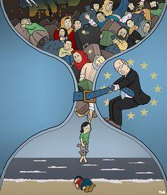 Tjeerd Royaards Refugee crisis - Will the death of Aylan Kurdi change anything? Political Art, Political Cartoons, Poema Visual, Satirical Illustrations, Refugee Crisis, Powerful Images, Humor Grafico, Gcse Art, Caricatures