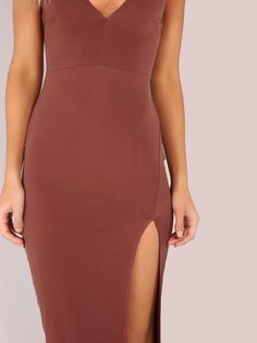 Brown Plungy Neckline Side Slit Bodycon Cami Dress